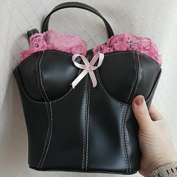 Bags   Black And Pink Corset Shaped Purse Vegan Leather   Poshmark 27df24b500